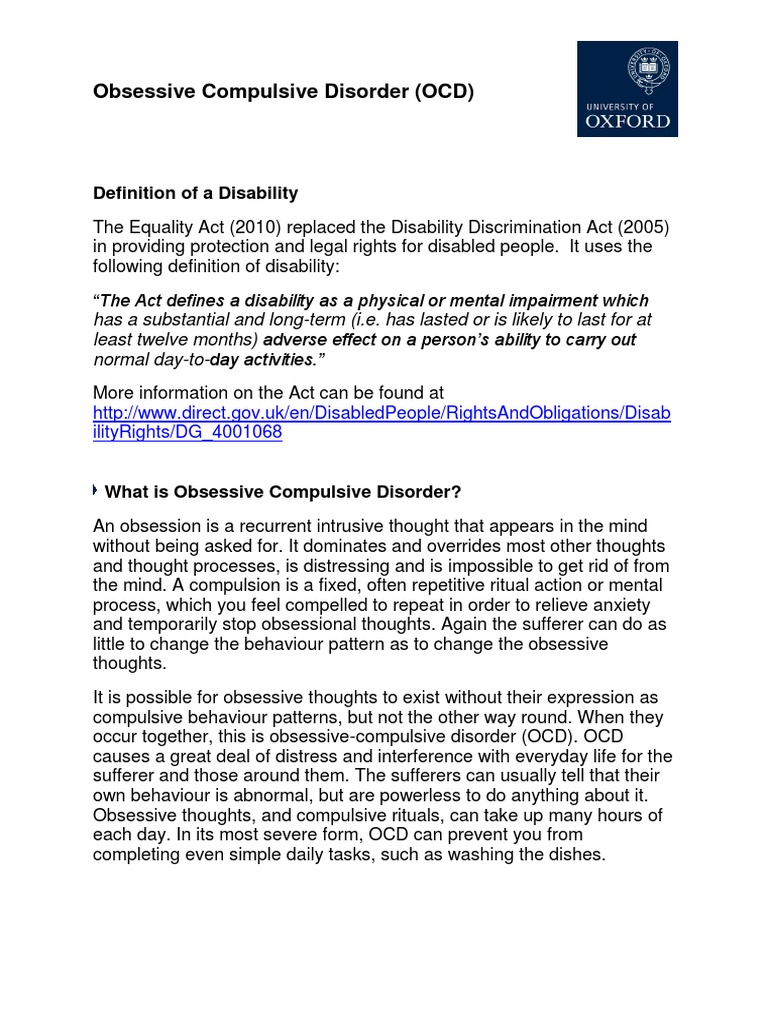 ocd information pack   obsessive–compulsive disorder   psychotherapy