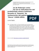 Lucia Feijoo (2005). Las Tesis de Pulacayo Como Expresion de La Radicalizacion Del Proletariado Minero Boliviano Durante El Sexenio de Re (..)