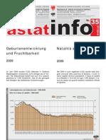 Geburtenentwicklung  2009 Astat