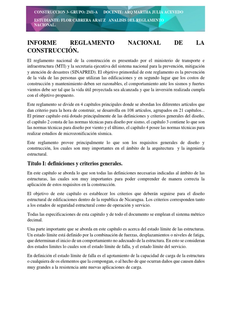 C3 2m1a Fdlca Reglamento Nacional De La Construccion Informe
