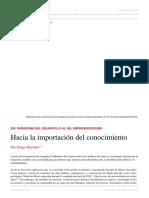 Diego Hurtado. Hacia La Importación Del Conocimiento. El Dipló. Edición Nro 218. Agosto de 2017