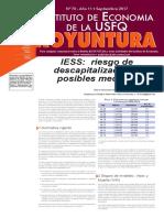 Koyuntura IESS Riesgo de Descapitalizaciòn y Posibles Medidas Septiembre 2017