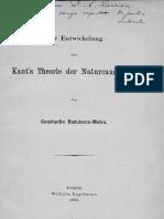 C. Radulescu - Motru - Zur Entwickelung Von Kant's Theorie Der Naturcausalität, 1893