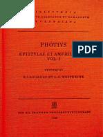 Photios - Epistulae Et Amphilochia Vol. 1