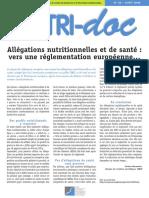 Allégations Nutritionnelles Et de Santé Vers Une Réglementat