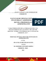 Caracterización de La Formalización y El Financiamiento en Las Mypes Del Sector Servicio - Rubro Cevicherias de La Ciudad de Chimbote, 2012