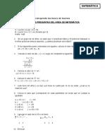 Banco Preguntas Matematica 1ro Sec