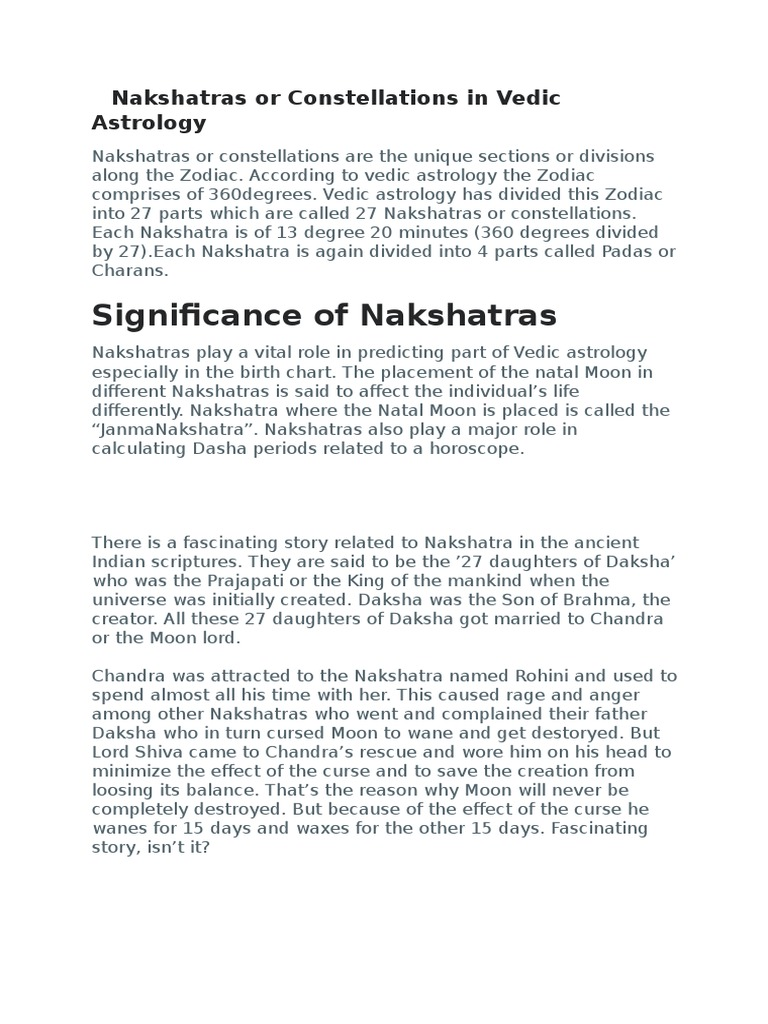 Nakshatras or Constellations in Vedic Astrology odt | Hindu