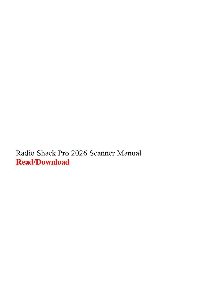Radio Shack Pro 2026 Scanner Manual | Escáner de imágenes