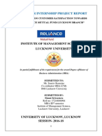 A Study on Customer Satisfaction Towards Reliance Mutual Fund Lucknow Branch