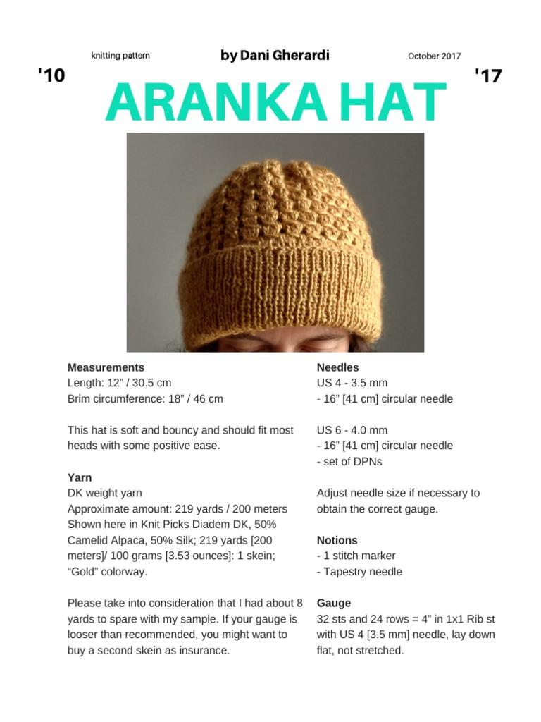Aranka Hat Dani Gherardi | Knitting | Gauge (Knitting)