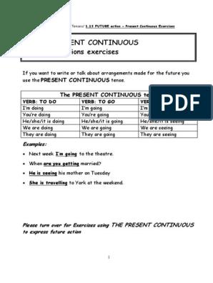 WORKSHEET Present Continuous for Future Arrangements -Exercises