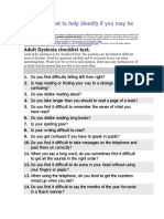 A Checklist Test to Help Identify if You May Be Dyslexic