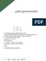 Correlações Generalizadas, Misturas e Eq Virial de Pitzer