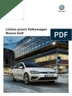 Listino Prezzi Volkswagen Nuova Golf