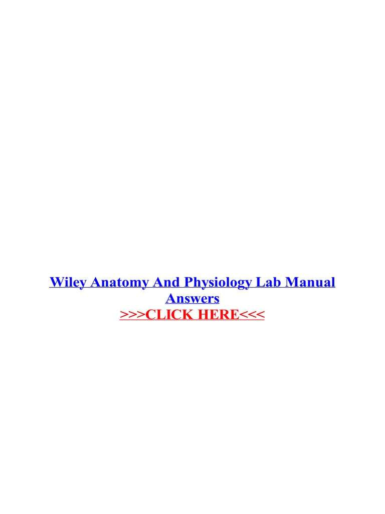 Wiley Anatomy and Physiology Lab Manual Answers | John Wiley & Sons ...
