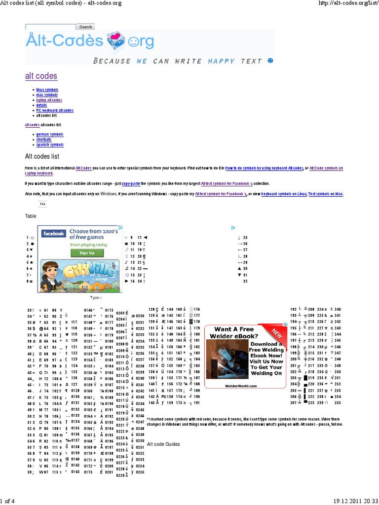 Alt Codes List All Symbol Codes Alt Codes