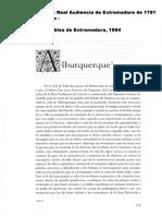 ALBURQUERQUE en el Interrogatorio de la Real Audiencia de Extremadura de 1791 en Extremadura