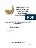 Informe de Laboratorio 4 Física II- Densidad y Tensión Superficial