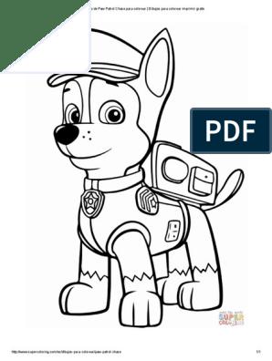 Dibujo De Paw Patrol Chase Para Colorear Dibujos Para Colorear