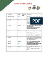 assessment sheet  math lesson- math problem  - copy