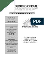 Registro Oficial N° 790 Ley Orgánica de Ordenamiento Territorial, Uso y Gestión de Suelo