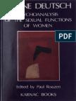 Deutsch Psychoanalysis Sexual Function Women