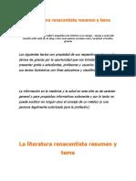 La Literatura Renacentista Resumen y Tema