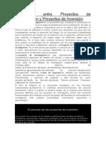 Diferencias Entre Proyectos de Investigación y Proyectos de Inversión
