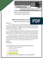 Preguntas Para El Examen de Conocimientos - Comunicacion y Plan Lector 2017