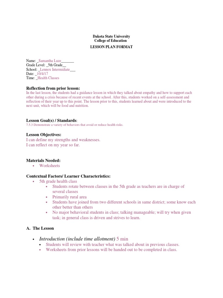 health lesson plans | Differentiated Instruction | Lesson Plan