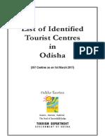 Identified Tourist Centre in Odisha 2017