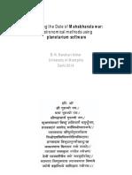 Mahabharat War Dating 3067 BC- Prof.narahari Achar