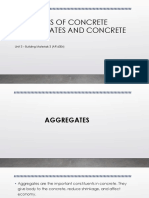 Types of concrete aggregates and concretes.