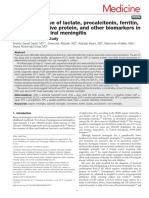 Diagnostic Value of Lactate, Procalcitonin, Ferritin, Serum-C-reactive Protein