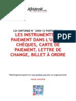 Loi Uniforme Portant Sur Les Instruments de Paiement Dans l Uemoa Benin
