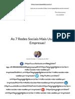 As 7 Redes Sociais Mais Usadas Por Empresas!