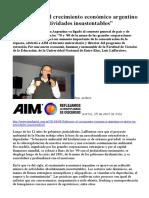 2016-04-05 Lafferriere El Crecimiento Económico Argentino Se Apoyó en Actividades Insustentables