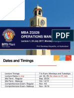 Operations Management BITS Pilani