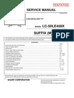 Sharp Lc 50le458x TV service manual