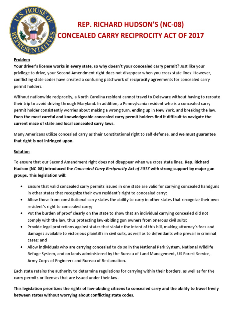 Concealed Carry Reciprocity Act Of 2017 One Pager Concealed Carry