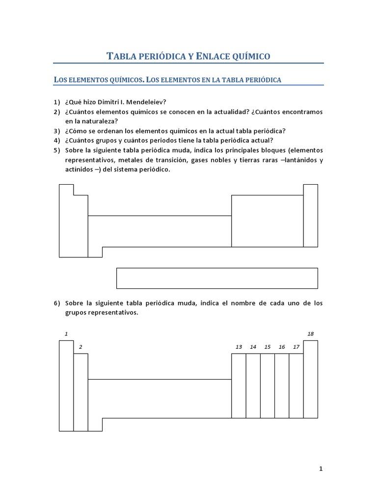 3eso 04 tabla peridica y enlace qumico actividades urtaz Image collections