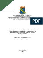 Trabalho e Atividade Na Psicologia de a. n. Leontiev