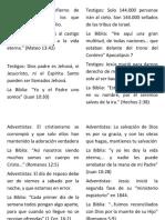 Doctrinas Testigos y Adventistas