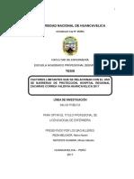 Factores Limitantes Que Se Relacionan Con El Uso de Barreras de Protección, Hospital Regional Zacarías Correa Valdivia Huancavelica 2017