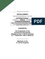 VI World Congress IC 1928
