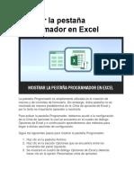 Mostrar La Pestaña Programador en Excel
