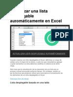 Actualizar Una Lista Desplegable Automáticamente en Excel