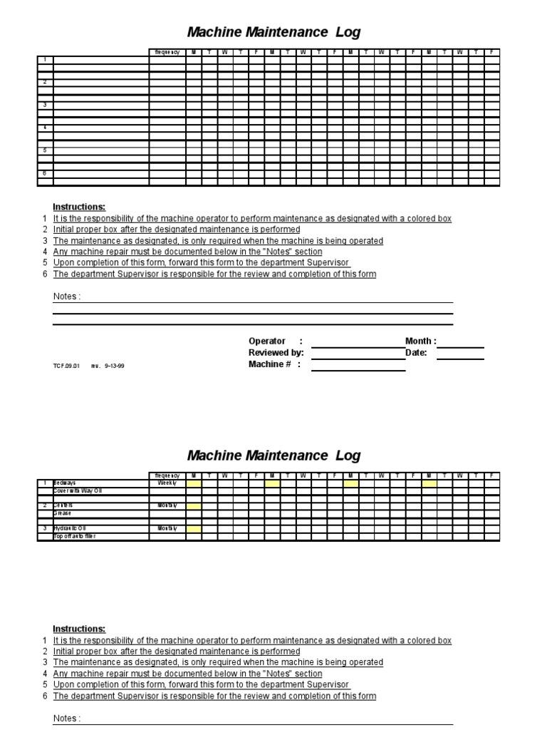 Machine Maintenance Log Sample | Lubricant | Bearing