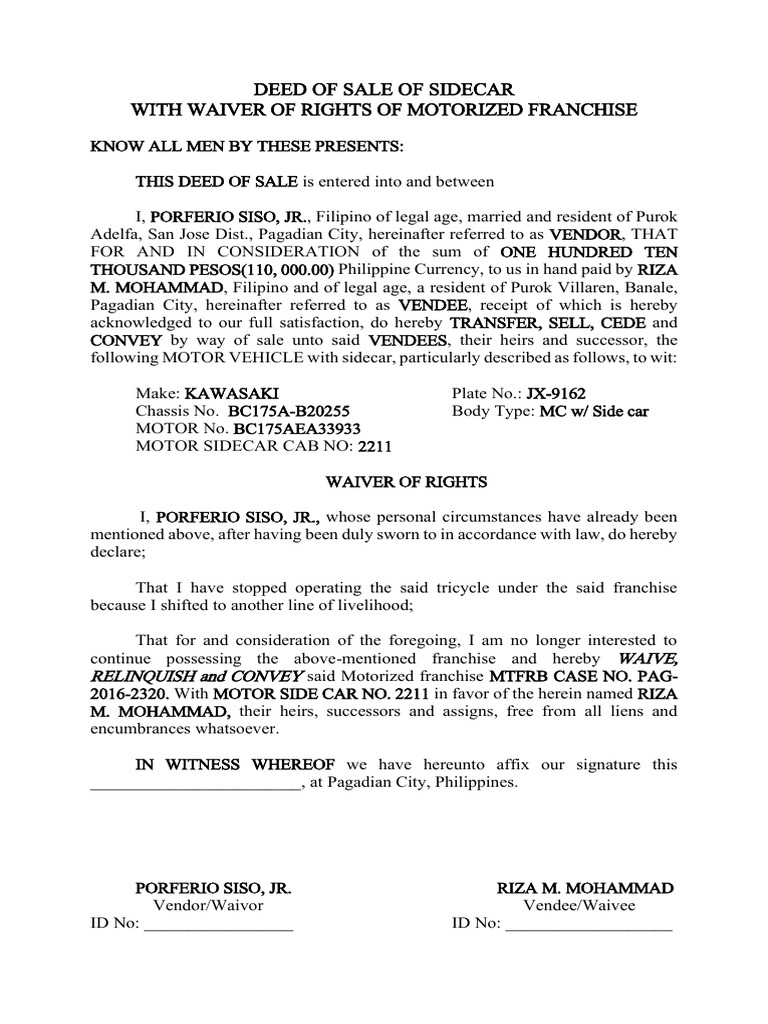 deed of sale of sidecar legaspi cabatcha property law civil law